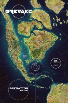 Predation : Grevack by butterfrog on DeviantArt Fantasy World Map, Fantasy City, Imaginary Maps, Prehistoric World, Old Maps, Antique Maps, Vintage Maps, Alternate History, Fantasy Setting