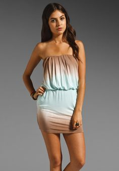 YOUNG, FABULOUS & BROKE Freya Dress in Coffee/Blush Double Ombre at Revolve Clothing