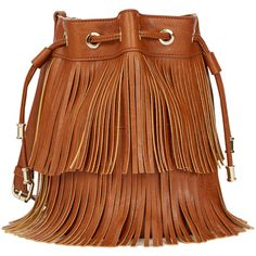ShoeDazzle Bags Randy Womens Brown ❤ liked on Polyvore featuring bags, handbags, brown, wallets & cases, fringe purse, bucket bag, brown hand bags, brown fringe purse and fringe bucket bag