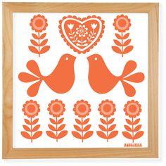 70's Retro Folk Art Giclée Print Orange Birds by Audrinka on Etsy, $22.00