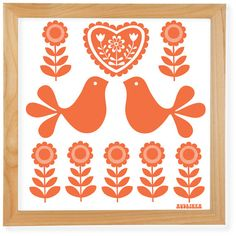 70's Retro Folk Art Giclée Print Orange Birds by Audrinka on Etsy, $22.00