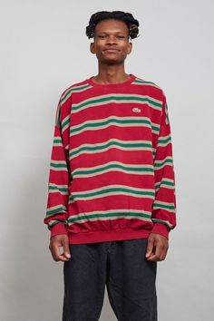Vintage ribbed 80's marron Lacoste sweater