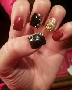 Red, black, and gold. #nails #fall