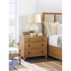 Newport Cliff Three Drawer Nightstand by Barclay Butera at Baer's Furniture Large Nightstands, Dresser As Nightstand, Bedside, Bachelors Chest, Lexington Home, Living Room End Tables, Brown Furniture, Solid Wood Bedroom Furniture, Home Design Plans
