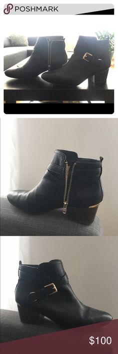 Coach booties Booties from coach purchased fall 2016. Lightly worn for one fall season. Real leather with golden accents. Coach Shoes Ankle Boots & Booties