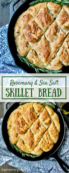 Filled with rosemary and topped with sea salt this easy skillet bread comes together in a matter of minutes! (Did I mention that the crust is amazing!)