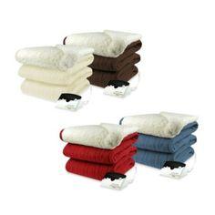 Biddeford Blankets® Comfort Knit Heated Blanket with Sherpa Back - BedBathandBeyond.com
