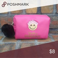 """🌸😊🌸Hello Gorgeous Makeup Bag This cosmetic is super cute with the words """"Hello Gorgeous"""" in gold and an emoji wearing a flower crown. Also, it has a black pompom on the zipper. Bags Cosmetic Bags & Cases"""