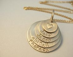 Hand Stamped Gold NecklaceFamily Stacked Customized by nalujewelry, $120.00