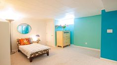 Bright and Practical Basement Bedroom Ideas by Mazur, Chic on a Shoestring Decorating