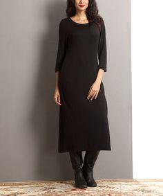 Loving this Black Shift Midi Dress on #zulily! #zulilyfinds