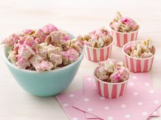 Princess Party Food - Jeweled Princess Chex Mix - White chocolate-covered Chex gets the royal treatment with a dusting of edible glitter, resulting in darling (and delicious) party favors.
