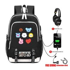 Check out this amazing BTS Bqgs Collection. Bts Backpack, North Face Backpack, Laptop Backpack, Black Backpack, Mochila Kpop, Mochila Do Bts, Bts Bag, School Bags For Boys, Bts Clothing