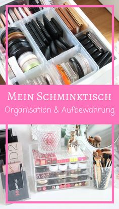Mein Schminktisch I'll show you my make-up table and everything on and in it, as well as the bes Ikea Makeup Vanity, Diy Vanity, Diy Makeup Organizer Cardboard, Using Concealer, Light Brow, Make Up Organiser, Night Makeup, Makeup Rooms, Dark Eyeshadow
