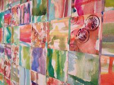 Close up of W/C Paper quilt Julie Bates