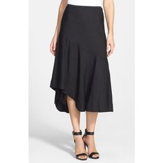 NIC+ZOE 'The Long Engagement' Midi Skirt ($128) via Polyvore featuring skirts, black onyx, petite, ruffle skirt, petite skirts, white midi skirt, petite white skirt and frilly skirt