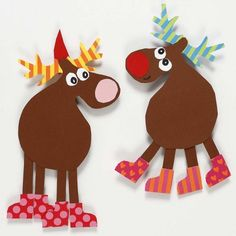 Reindeer made from Card using a Template - Creative ideas Christmas Arts And Crafts, Xmas Crafts, Kids Christmas, Diy And Crafts, Christmas Decorations, Paper Crafts, Christmas Ornaments, Holiday Decor, Diy For Kids