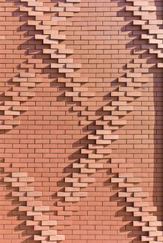 "I love basic materials pushed in new directions. This listed as ""House for Solidarity / Ellenamehl architects - brick detail. Brick Masonry, Brick Facade, Masonry Wall, Brick Art, Brick Tiles, Brick Design, Facade Design, Brick Architecture, Architecture Details"