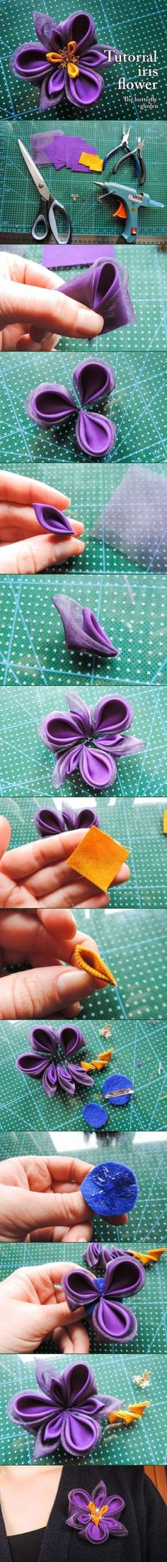 Kanzashi Tutorial: Silk and organza iris flower Ribbon Art, Diy Ribbon, Fabric Ribbon, Ribbon Crafts, Flower Crafts, Ribbon Flower, Iris Flowers, Satin Flowers, Felt Flowers