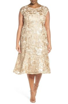Adrianna Papell Embroidered Soutache A-Line Dress (Plus Size) available at #Nordstrom