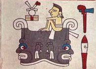 This image is from the 16th century Codex Laud, depicting deities from the Aztec-Toltec pantheon.