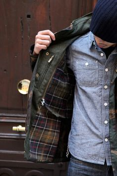 Barbour jacket, chambray shirt