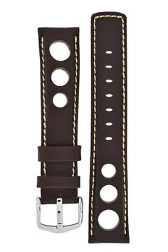 Hirsch RALLY Leather Watch Strap in BROWN – WatchObsession £32.00 Powerful and elegant strap as a perfect association of motor sports! The natural cow leather strap with distinct padding and sporty contrast stitching attracts great attention with it's perforation inspired by the racing glove look.
