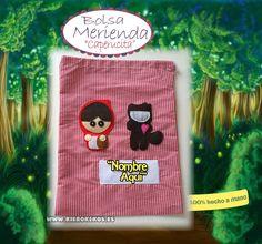 """Bolsa de merienda """"Caperucita Roja"""".  Personalizala con el nombre del niño.  www.kierokekos.es"""