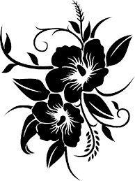 Картинки по запросу dessin fleur hibiscus noir et blanc