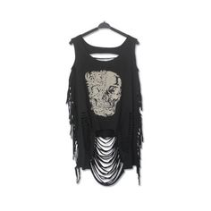 Casual Scoop Neck Skull Print Ripped Top For Women ($12) ❤ liked on Polyvore featuring tops, scoopneck top, ripped tops, distressed tops, skull top and scoop neck top
