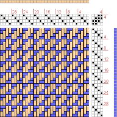 Hand Weaving Draft: Broken Squares Twill, Handweaving.net Visitors, 4S, 4T - Handweaving.net Hand Weaving and Draft Archive