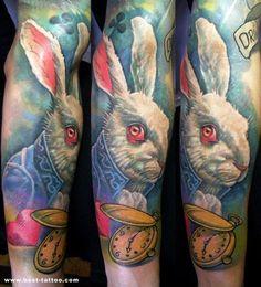 Alice In Wonderland -Rabbit Future Tattoos, Love Tattoos, Body Art Tattoos, Tattoo Art, White Rabbit Tattoo, Rabbit Tattoos, Alice In Wonderland Rabbit, Sick Tattoo, Literary Tattoos
