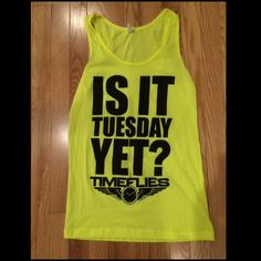 """Timeflies tank top! Tank top from the music group """"timeflies"""". Neon yellow color. Size small in American apparel brand. Never been worn. No stains or imperfections! Smoke free home! Offers and trades are welcome! Forever 21 Tops"""
