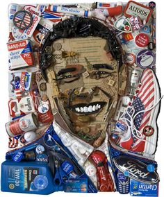 A Barack Obama portrait made of red, white and blue junk