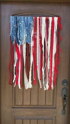 "Rustic American ""rag"" flag - Handmade ribbon scrap wall and door hanging - 4th of July Decor- Summer wreaths-USA decorations-Farmhouse Decor"