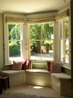 Box Victorian Sash Windows with window seating. Space left for a small round table?