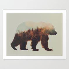Brown bear flipped Art Print by Andreas Lie | Society6
