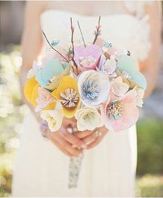 Whimsical World of Laura Bird: Paper Bouquets  Such an awesome idea!