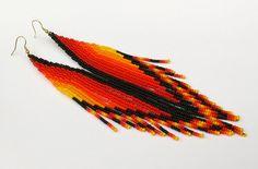 Very Long Earrings.Native American Earrings Inspired. Shoulder Dusters. Beadwork.