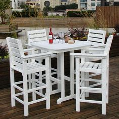 Outdoor POLYWOOD® Captain 5 pc. Recycled Plastic Bar Height Dining Set - PW129