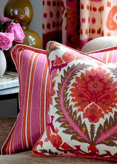 Brunschwig & Fils pillows and drapes, from the latest collection, Les Alizes