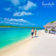 Private cabanas are the perfect way to relax on the beach on Sandals island.