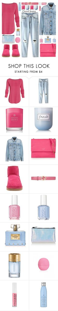 """""""Hot Pinks (Outfit Only & Organized Sets)"""" by truthjc ❤ liked on Polyvore featuring Under Armour, Molton Brown, Fresh, Current/Elliott, Lanvin, UGG Australia, Gucci, Essie, Versace and Topshop"""