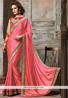 Precious Crepe Lace Work Pink And Biege Color Designer Saree