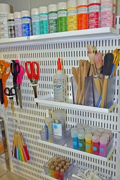 The Container Store elfa Utility Board Peg Board Storage for crafting supplies, ribbon & paint