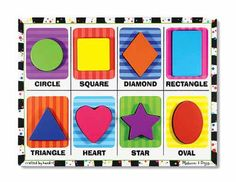 Melissa and Doug shape puzzle; very durable! 4 yrs after is still in good shape: all shapes and colors learned