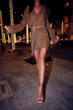 Gold sequined long sleeve mini dress with bling sandals #holidaywear #newyearseve
