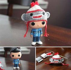 "Twitter. Ahh! This is sooooo cute!! It's a Misha Collins doll with the sweater he was wearing in ""the French mistake"" episode and wearing his sock monkey hat!!!"