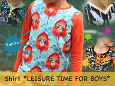 Nähanleitung / E-Book Buben Shirt *Leisure Time for Boys* Book Shirts, Floral Tops, Graphic Sweatshirt, Etsy, Sweatshirts, Blouse, Pattern, Sweaters, Products