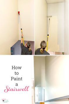 Great DIY tutorial on how to paint a stairwell without a ladder or scaffolding. Good ideas I can use for our tall walls, stairways and high walls. decor stairways The Inexpensive Way to Paint a Stairwell